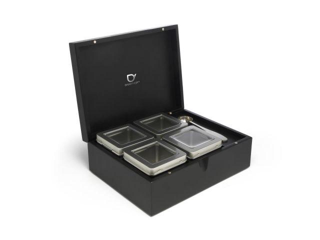 Caja te bamboo negro- 4 cajitas+cuchara medidora