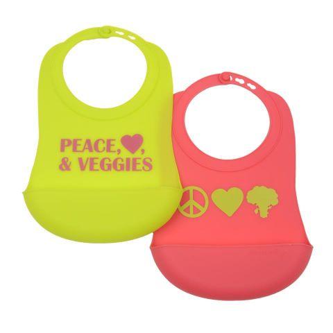Babero Silicona Foodie Peace-Heart Verde-Rosa