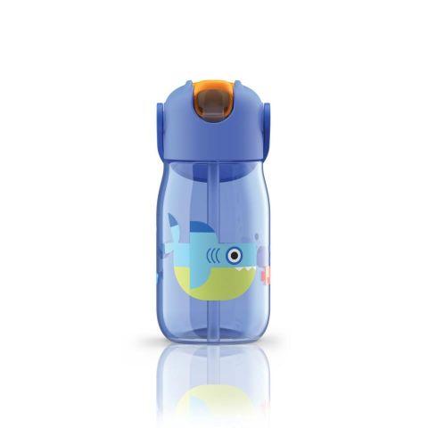 Botella niños c/pajita azul tiburón- 400ml
