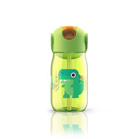 Botella niños c/pajita verde cocodrilo- 400ml