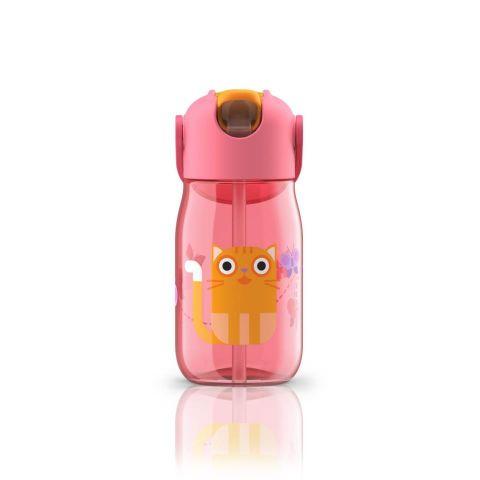 Botella niños c/pajita rosa gato- 400ml