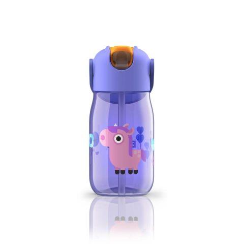 Botella niños c/pajita púrpura caballo- 400ml